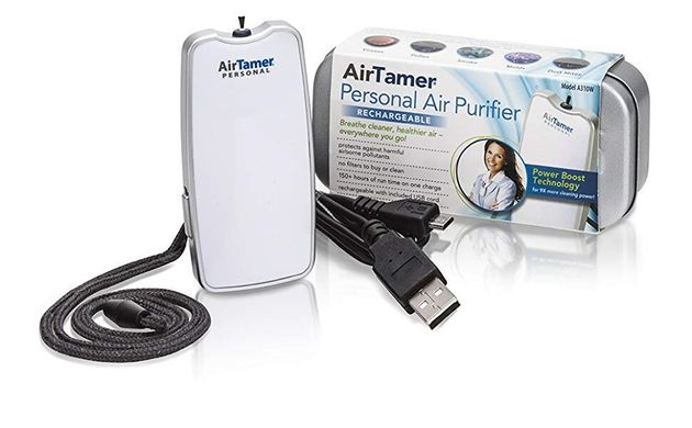 The Air Tamer portable air purifier can even be worn around your