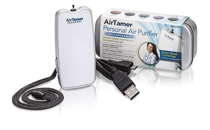 The Air Tamer portable air purifier can even be worn around your neck.