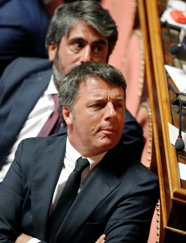 Former Italian Prime Minister Matteo Renzi reacts during a session of the upper house of parliament over...