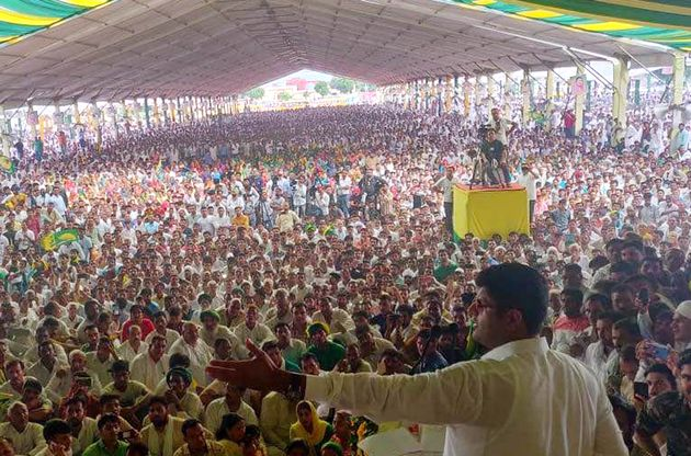 Jannayak Janata Party leader Dushyant Chautala addresses a Jan Samman Divas Rally, at Mela Ground, on...