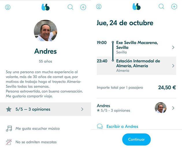 Perfil de Andrés Samper en Blablacar, difundido en las redes