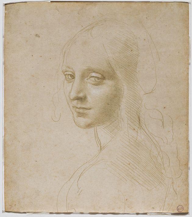 Léonard de Vinci, étude de figure pour l'ange de la Vierge aux