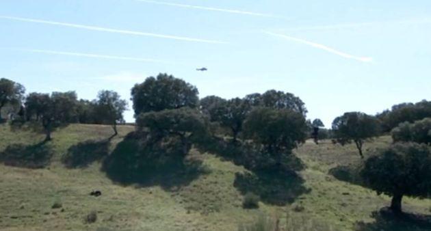 El helicóptero de Franco llegando a