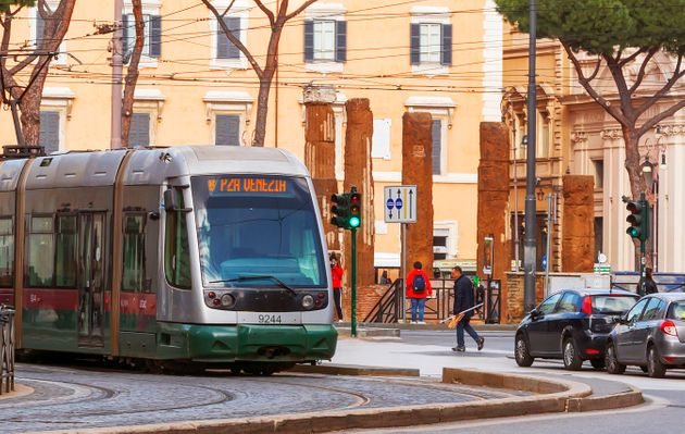 Rome, Italy, february 11, 2017: line 8 tram moving in Largo Argentina moving from Piazza