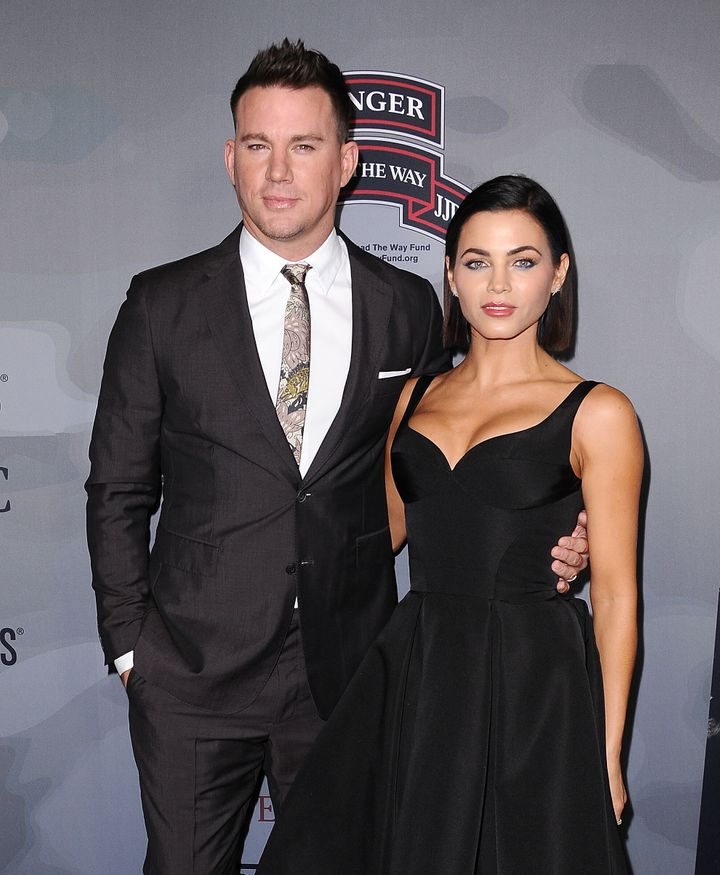 """Channing Tatum and the-then Jenna Dewan Tatum attend the premiere of """"War Dog: A Soldier's Best Friend"""" on Nov. 6, 2017 in Lo"""