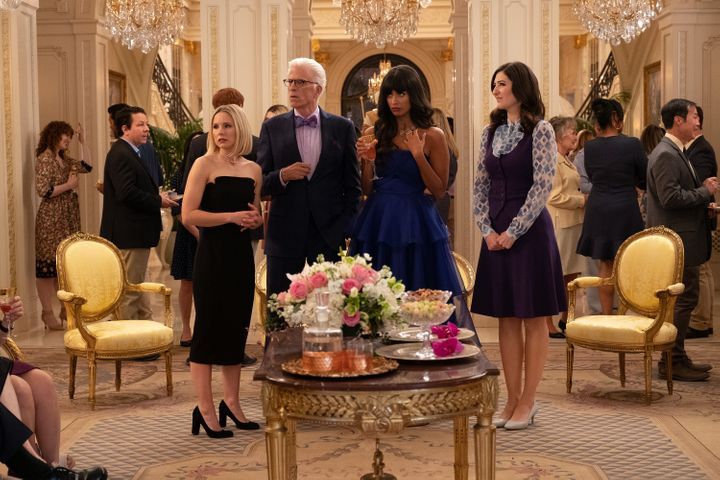 "Kristen Bell as Eleanor, Ted Danson as Michael, Jameela Jamil as Tahani, and D'Arcy Carden as Janet in a scene from ""The Good"