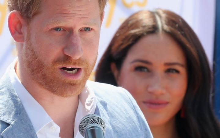 The Duke of Sussex speaks during a visit a township to learn about Youth Employment Services on Oct 2 in Johannesburg.