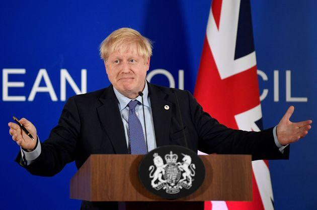 Boris Johnson (ici en Belgique le 12 octobre 2019) appelle à de nouvelles élections le...