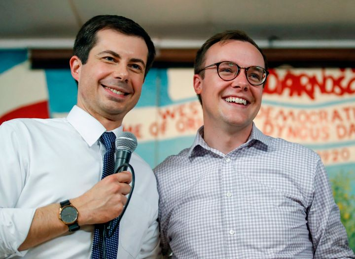 South Bend mayor and democratic presidential candidate Pete Buttigieg with his husband, Chasten Buttigieg.