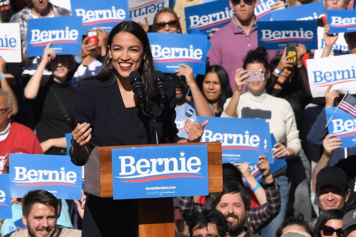 Rep. Alexandria Ocasio-Cortez (D-N.Y.) endorses Sen. Bernie Sanders (I-Vt.) for president on Saturday in Queens, New York Cit