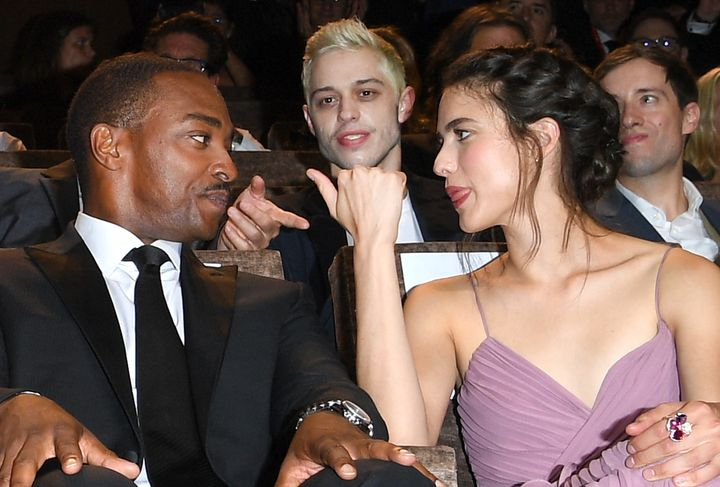 """Anthony Mackie, Pete Davidson and Margaret Qualley attend the """"Seberg"""" screening during the 76th Venice Film Festival."""