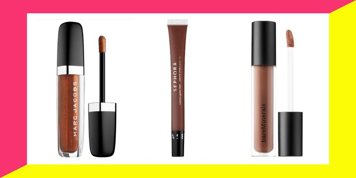 "When it comes to most flattering brown lip gloss for dark skin tones, the reviews all point to&nbsp;<a href=""https://fave.co/2qDnceo"" target=""_blank"" rel=""noopener noreferrer"">Anastasia Beverly Hills lip gloss in shade &ldquo;Sepia&rdquo;</a>."