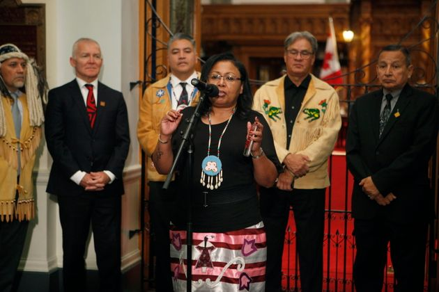 First Nations Speaker Cheryl Casimer speaks to the press after Premier John Horgan announced Indigenous...