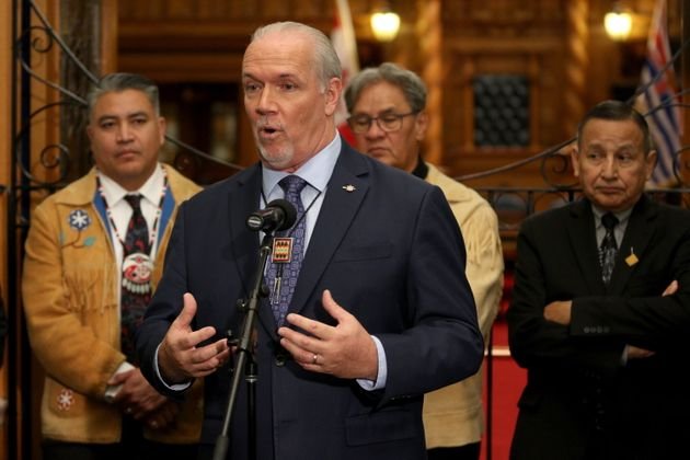 Premier John Horgan holds a press conference to announce Indigenous human rights will be recognized in...