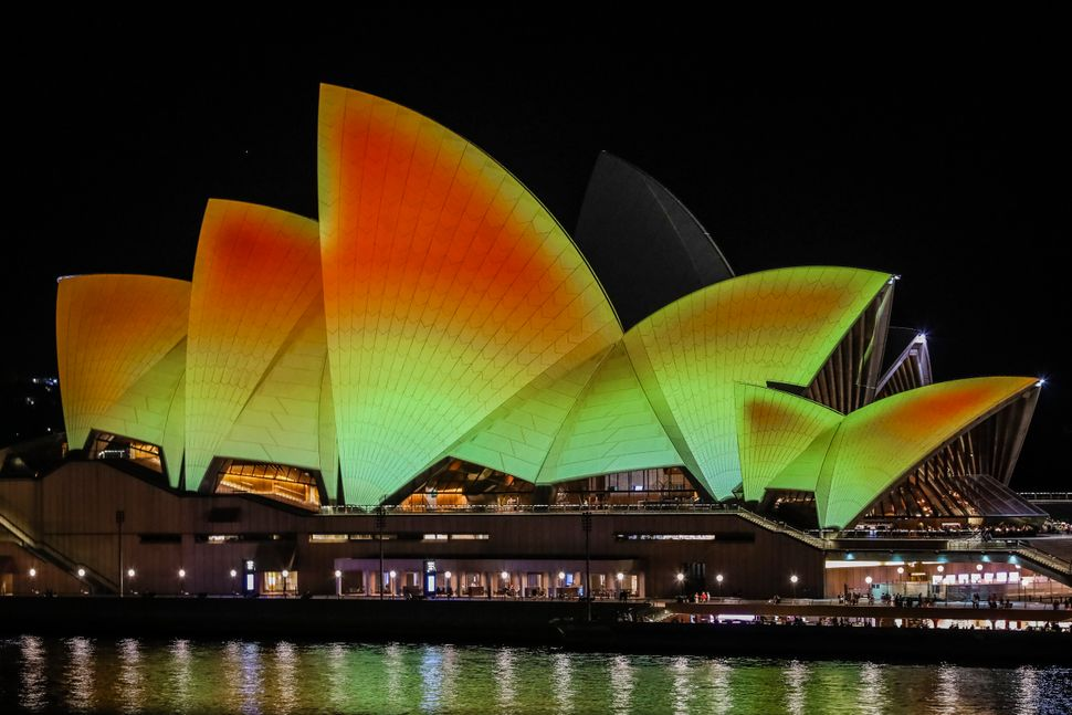 The Sydney Opera House lit up for