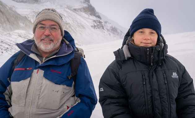 Climate activist Greta Thunberg, right, and John Pomeroy, director of the Global Water Futures program...