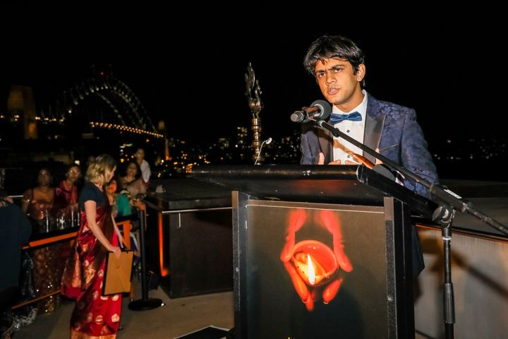 Khushaal Vyas as MC at the 2019 Multicultural NSW Diwali event.
