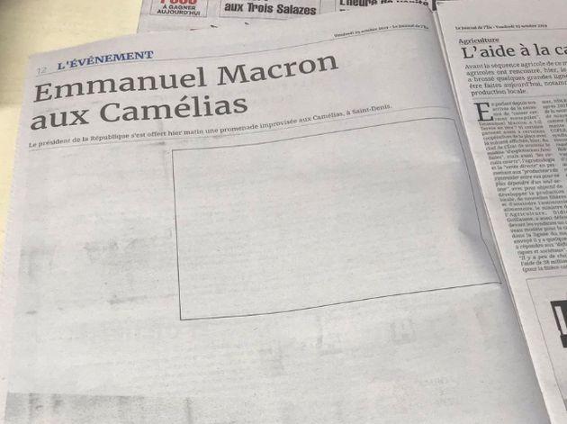 Photo de la page blanche du journal Clicanoo, partagée sur Twitter par l'un de ses