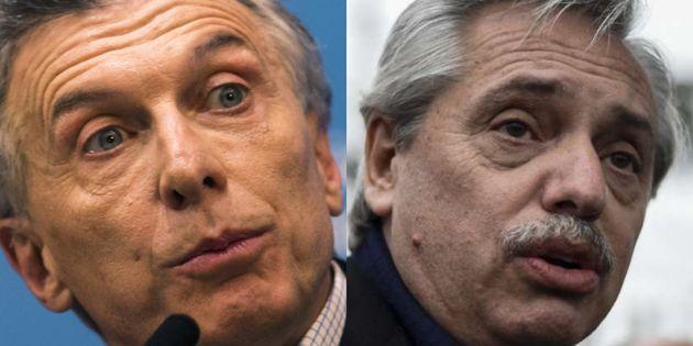 Mauricio Macri y Alberto Fernández, en sendas imágenes de