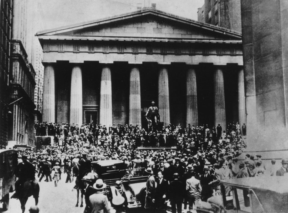 Crowds in front of the Stock Exchange in the days of the Wall Street crash, October 1929, New York, United...