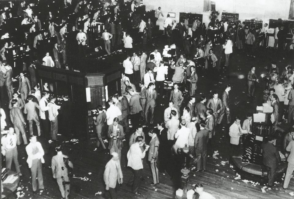 The trading floor of the New York Stock Exchange on the day of the Wall Street crash, October 29, 1929,...