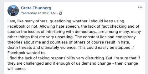 Westlake Legal Group 5db2ec382000009228506c62 Greta Thunberg Issues Rallying Cry Against Facebook Over Lies, Death Threats