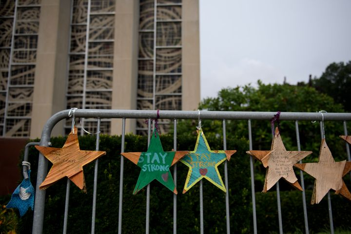 Memorial objects hang outside the Tree Of Life Synagogue on August 7, 2019, in Pittsburgh, Pennsylvania.
