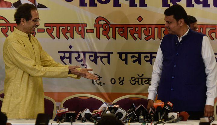 Shiv Sena chief Uddhav Thackeray (left) BJP's Devendra Fadnavis in Mumbai earlier this month.