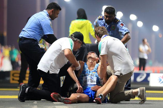 Le malaise de l'athlète ukrainien Maryan Zakalnytskyy aux Mondiaux d'athlétisme au Qatar,...