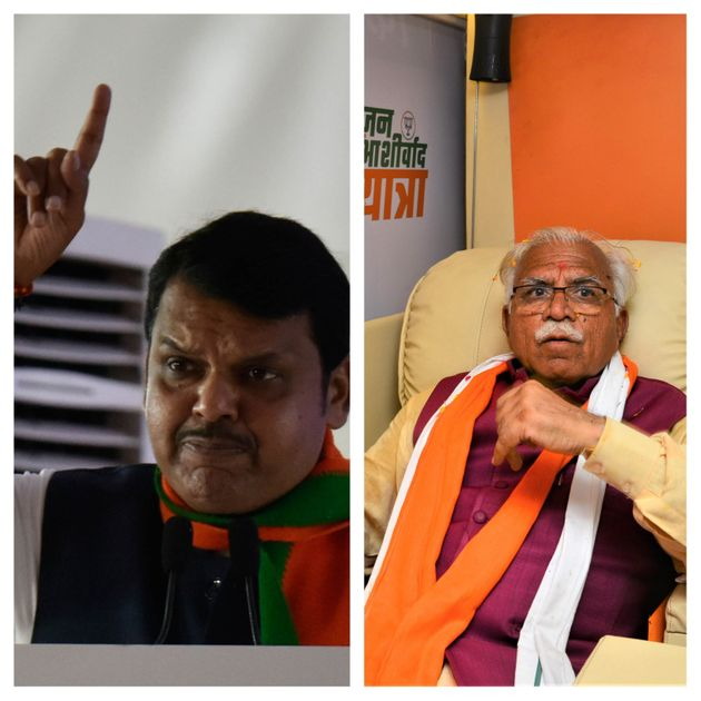 Maharashtra Chief Minister Devendra Fadnavis (L) and Haryana Chief Minister Manohar Lal Khattar (R) have...
