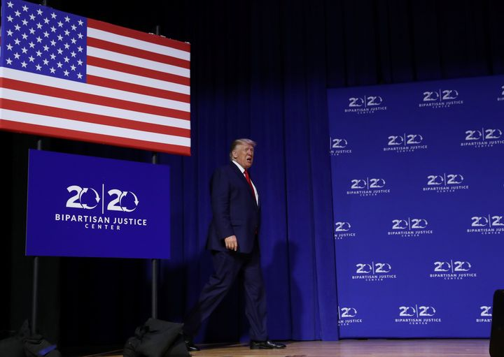 President Donald Trump arrives onstage to deliver remarks at the 2019 Second Step Presidential Justice Forum at Benedict Coll