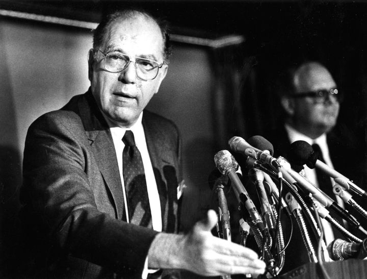 Lyndon LaRouche speaks to reporters at the National Press Club in Washington on May 5, 1988.