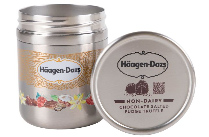 Haagen-Dazs ice cream in a metal tin, designed for the Loop service.