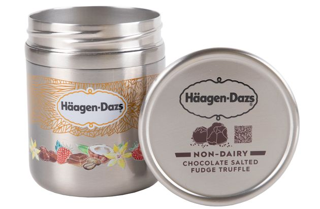 Haagen-Dazs ice cream in a metal tin, designed for the Loop
