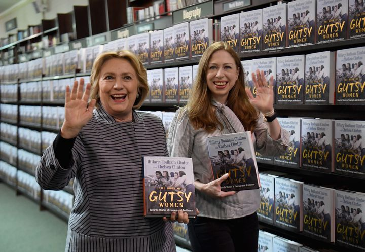 """The Clinton women arrive to the signing for their new book """"The Book of Gutsy Women: Favorite Stories for Courage and Resilience"""" at Barnes & Noble Union Square on Oct. 3, 2019, in New York City."""