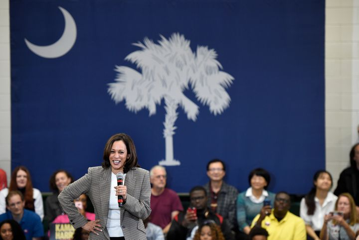 Democratic presidential candidate Kamala Harris speaks during a rally at Aiken High School in Aiken, South Carolina, on Oct.