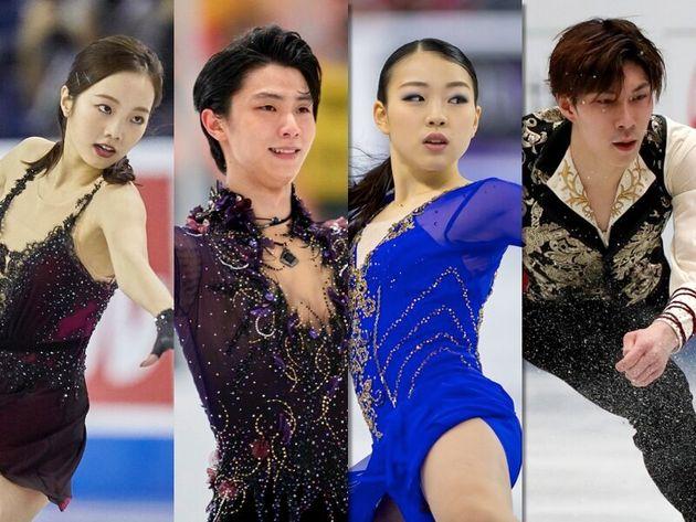 左から本田、羽生、紀平、田中各選手