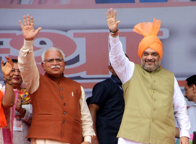 Home Minister Amit Shah with Haryana Chief Minister Manohar Lal
