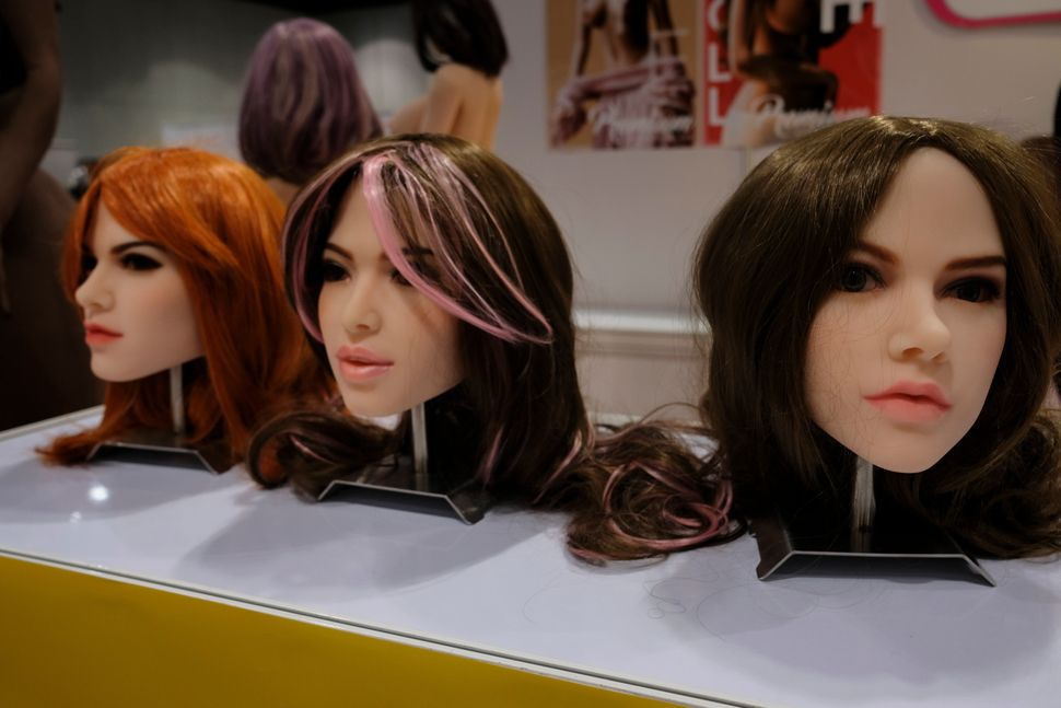 Customisable sex dolls heads on display at the Asia Adult Expo 2017 at Hong Kong Convention and Exhibition Centre in Wan Chai, Hong Kong.