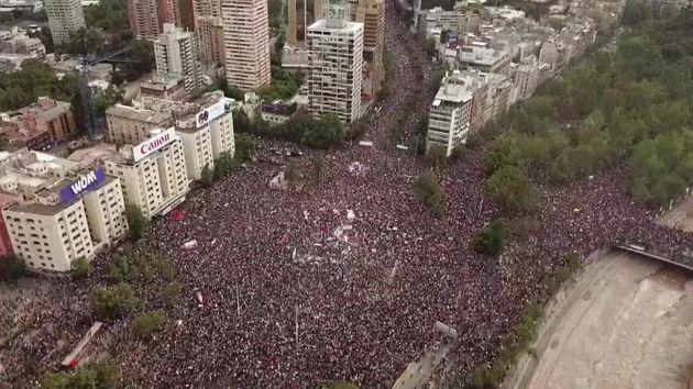 Imagen aérea de la multitudinaria manifestación en