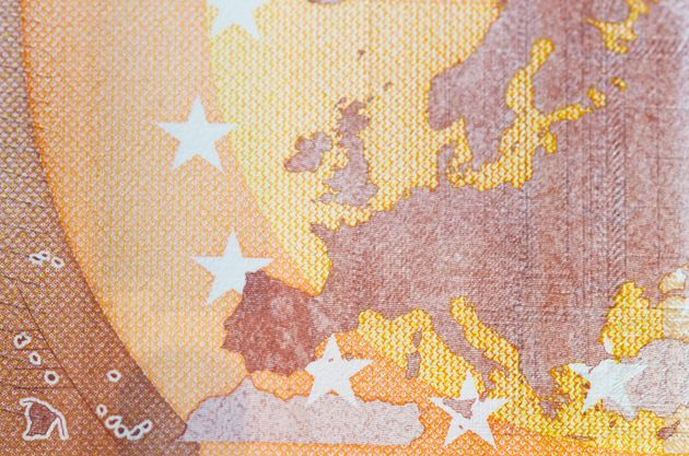 Macro of europe on the front of a fifty euro