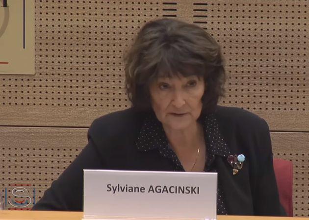 La philosophe Sylviane Agacinski lors de son audition au Sénat dans le cadre de l'examen du projet de...
