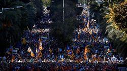 Multitudinaria manifestación en Barcelona contra la sentencia del