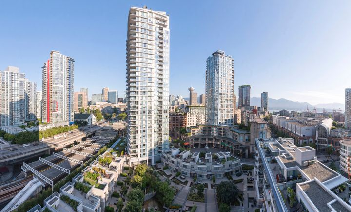 Condo towers and townhouses in Vancouver's downtown core.