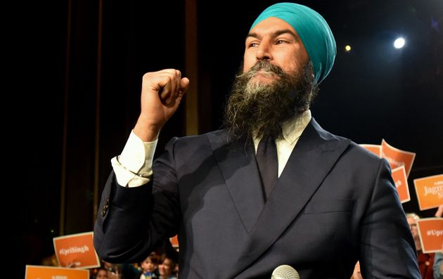 NDP leader Jagmeet Singh addresses his supporters at the Vogue Theatre in Vancouver, Oct. 19,