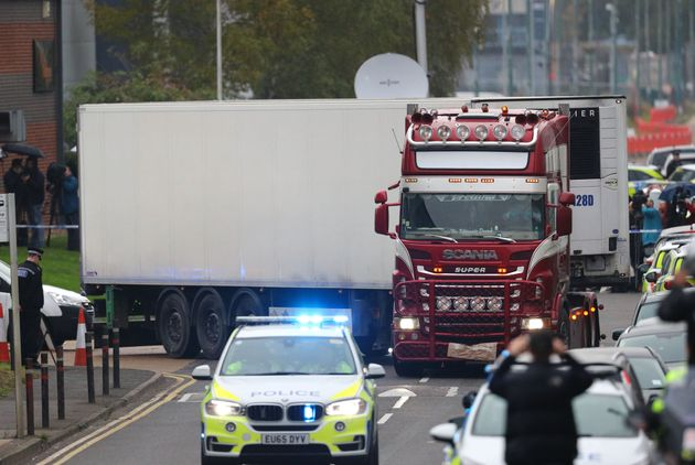 The lorry in which 39 people were found dead in Essex,
