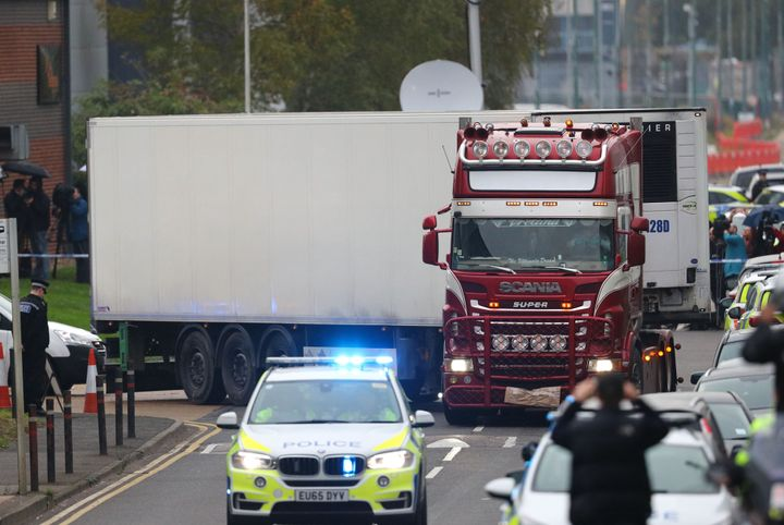 <strong>The container lorry where 39 people were found dead in Essex&nbsp;</strong>