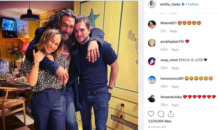 Η αγάπη των ακολούθων της Εμίλια Κλαρκ στο Instagram.