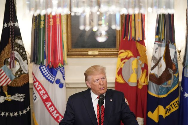 U.S. President Donald Trump makes a statement at the White House following reports that U.S. forces attacked...