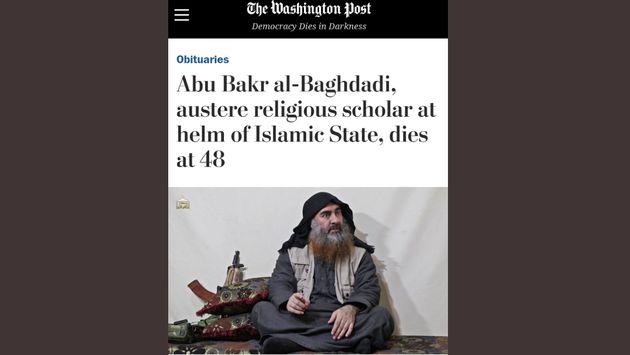 Il titolo del WP sulla morte di Al Baghdadi finito al centro delle